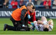 12 April 2019; Marty Moore of Ulster is treated for an injury during the Guinness PRO14 Round 20 match between Edinburgh and Ulster at BT Murrayfield in Edinburgh, Scotland. Photo by Ross Parker/Sportsfile