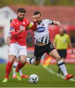 12 April 2019; Michael Duffy of Dundalk in action against Kyle Callan-McFadden of Sligo Rovers during the SSE Airtricity League Premier Division match between Sligo Rovers and Dundalk at The Showgrounds in Sligo. Photo by Eóin Noonan/Sportsfile