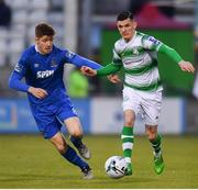 12 April 2019; Trevor Clarke of Shamrock Rovers in action against Rory Feely of Waterford during the SSE Airtricity League Premier Division match between Shamrock Rovers and Waterford at Tallaght Stadium in Dublin. Photo by Ramsey Cardy/Sportsfile