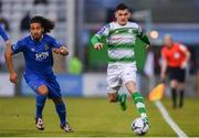 12 April 2019; Trevor Clarke of Shamrock Rovers in action against Bastien Héry of Waterford during the SSE Airtricity League Premier Division match between Shamrock Rovers and Waterford at Tallaght Stadium in Dublin. Photo by Ramsey Cardy/Sportsfile