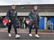 12 April 2019; St Patrick's Athletic players Ciaran Kelly and Gary Shaw arrive before the SSE Airtricity League Premier Division match between Cork City and St Patrick's Athletic at Turners Cross in Cork. Photo by Matt Browne/Sportsfile