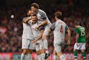12 April 2019; John Aldridge of Liverpool FC Legends, left, celebrates after scoring their side's first goal with, from left, Patrik Berger, Steve McManaman and Jason McAteer during the Sean Cox Fundraiser match between the Republic of Ireland XI and Liverpool FC Legends at the Aviva Stadium in Dublin. Photo by Sam Barnes/Sportsfile