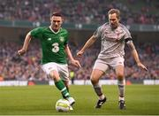 12 April 2019; Robbie Keane of Republic of Ireland XI in action against Jason McAteer of Liverpool FC Legends during the Sean Cox Fundraiser match between the Republic of Ireland XI and Liverpool FC Legends at the Aviva Stadium in Dublin. Photo by Stephen McCarthy/Sportsfile