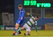 12 April 2019; Jack Byrne of Shamrock Rovers in action against Jonathan Lunney of Waterford during the SSE Airtricity League Premier Division match between Shamrock Rovers and Waterford at Tallaght Stadium in Dublin. Photo by Ramsey Cardy/Sportsfile