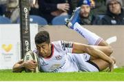 12 April 2019; Robert Baloucoune of Ulster goes over to score his sides second try during the Guinness PRO14 Round 20 match between Edinburgh and Ulster at BT Murrayfield in Edinburgh, Scotland. Photo by Ross Parker/Sportsfile