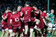12 April 2019; Munster players celebrate a try scored by Alby Mathewson during the Guinness PRO14 Round 20 game between Benetton Treviso and Munster Rugby at Stadio di Monigo in Treviso, Italy. Photo by Roberto Bregani/Sportsfile