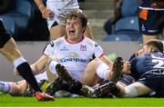 12 April 2019; Jacob Stockdale of Ulster celebrates Rob Lyttle's try during the Guinness PRO14 Round 20 match between Edinburgh and Ulster at BT Murrayfield in Edinburgh, Scotland. Photo by Ross Parker/Sportsfile