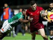 12 April 2019; Shane Daly of Munster  goes over Dewaldt Duvenage of Benetton Treviso  to score try during the Guinness PRO14 Round 20 game between Benetton Treviso and Munster Rugby at Stadio di Monigo in Treviso, Italy. Photo by Roberto Bregani/Sportsfile