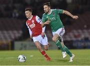 12 April 2019; Gearoid Morrissey of  Cork City in action against Jamie Lennon of  St Patrick's Athletic during the SSE Airtricity League Premier Division match between Cork City and St Patrick's Athletic at Turners Cross in Cork. Photo by Matt Browne/Sportsfile.