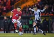 12 April 2019; David Cawley of Sligo Rovers in action against Sean Murray of Dundalk during the SSE Airtricity League Premier Division match between Sligo Rovers and Dundalk at The Showgrounds in Sligo. Photo by Eóin Noonan/Sportsfile