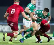 12 April 2019; Tommaso Allan of Benetton Treviso goes over Rhys Marshall of Munster during the Guinness PRO14 Round 20 game between Benetton Treviso and Munster Rugby at Stadio di Monigo in Treviso, Italy. Photo by Roberto Bregani/Sportsfile