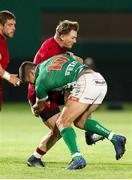 12 April 2019; Chris Cloete of Munster Rugby is tackled by Tommaso Allan of Benetton Treviso during the Guinness PRO14 Round 20 game between Benetton Treviso and Munster Rugby at Stadio di Monigo in Treviso, Italy. Photo by Roberto Bregani/Sportsfile