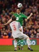 12 April 2019; Niall Quinn of Republic of Ireland XI heads the ball wide during the Sean Cox Fundraiser match between the Republic of Ireland XI and Liverpool FC Legends at the Aviva Stadium in Dublin. Photo by Sam Barnes/Sportsfile