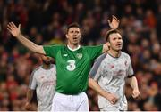 12 April 2019; Niall Quinn of Republic of Ireland XI reacts to a missed chance during the Sean Cox Fundraiser match between the Republic of Ireland XI and Liverpool FC Legends at the Aviva Stadium in Dublin. Photo by Sam Barnes/Sportsfile