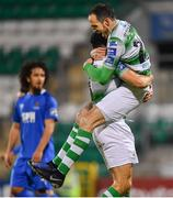 12 April 2019; Roberto Lopes of Shamrock Rovers celebrates with Joey O'Brien, right, after scoring his side's second goal during the SSE Airtricity League Premier Division match between Shamrock Rovers and Waterford at Tallaght Stadium in Dublin. Photo by Ramsey Cardy/Sportsfile