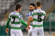 12 April 2019; Roberto Lopes, centre, celebrates with Shamrock Rovers team-mates Dylan Watts, left, and Lee Grace after scoring his side's second goal celebrates after scoring his side's second goal of the game during the SSE Airtricity League Premier Division match between Shamrock Rovers and Waterford at Tallaght Stadium in Dublin. Photo by Ramsey Cardy/Sportsfile