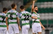 12 April 2019; Roberto Lopes of Shamrock Rovers celebrates after scoring his side's second goal of the game during the SSE Airtricity League Premier Division match between Shamrock Rovers and Waterford at Tallaght Stadium in Dublin. Photo by Ramsey Cardy/Sportsfile