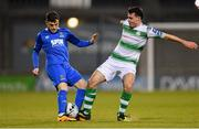 12 April 2019; Joel Coustrain of Shamrock Rovers in action against Cory Galvin of Waterford during the SSE Airtricity League Premier Division match between Shamrock Rovers and Waterford at Tallaght Stadium in Dublin. Photo by Ramsey Cardy/Sportsfile