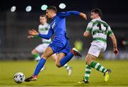 12 April 2019; Zak Elbouzedi of Waterford in action against Joel Coustrain of Shamrock Rovers during the SSE Airtricity League Premier Division match between Shamrock Rovers and Waterford at Tallaght Stadium in Dublin. Photo by Ramsey Cardy/Sportsfile