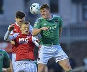 12 April 2019; Dan Casey of Cork City in action against Jamie Lennon and Kevin Toner of St Patrick's Athletic i during the SSE Airtricity League Premier Division match between Cork City and St Patrick's Athletic at Turners Cross in Cork. Photo by Matt Browne/Sportsfile.