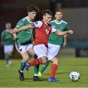 12 April 2019; Kevin Toner of  St Patrick's Athletic in action against Darragh Crowley of Cork City during the SSE Airtricity League Premier Division match between Cork City and St Patrick's Athletic at Turners Cross in Cork. Photo by Matt Browne/Sportsfile.