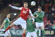 12 April 2019; Gary Shaw of  St Patrick's Athletic in action against Kevin O'Connor and Garry Comerford of Cork City during the SSE Airtricity League Premier Division match between Cork City and St Patrick's Athletic at Turners Cross in Cork. Photo by Matt Browne/Sportsfile.