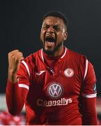 12 April 2019; Dante Leverock of Sligo Rovers celebrates following the SSE Airtricity League Premier Division match between Sligo Rovers and Dundalk at The Showgrounds in Sligo. Photo by Eóin Noonan/Sportsfile