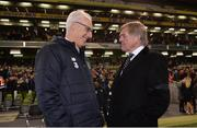 12 April 2019; Republic of Ireland manager Mick McCarthy and Liverpool FC Legends manager Kenny Dalglish in conversation following the Sean Cox Fundraiser match between the Republic of Ireland XI and Liverpool FC Legends at the Aviva Stadium in Dublin. Photo by Sam Barnes/Sportsfile