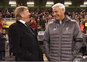 12 April 2019; Liverpool FC Legends manager Kenny Dalglish in conversation with Ian Rush following the Sean Cox Fundraiser match between the Republic of Ireland XI and Liverpool FC Legends at the Aviva Stadium in Dublin. Photo by Stephen McCarthy/Sportsfile