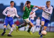 12 April 2019; Jake Ellis of Republic of Ireland in action against Carter Lycett, left, and Connor Taylor of England during the SAFIB Centenary Shield Under 18 Boys' International match between Republic of Ireland and England at Dalymount Park in Dublin. Photo by Ben McShane/Sportsfile