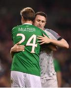 12 April 2019; Jason McAteer of Republic of Ireland XI and Robbie Keane of Liverpool FC Legends after the Sean Cox Fundraiser match between the Republic of Ireland XI and Liverpool FC Legends at the Aviva Stadium in Dublin. Photo by Stephen McCarthy/Sportsfile