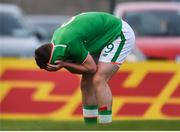 12 April 2019; Jake Ellis of Republic of Ireland reacts after a missed opportunity during the SAFIB Centenary Shield Under 18 BoysÕ International match between Republic of Ireland and England at Dalymount Park in Dublin. Photo by Ben McShane/Sportsfile