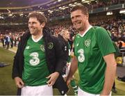12 April 2019; Kevin Kilbane, left, and Niall Quinn of Republic of Ireland XI after the Sean Cox Fundraiser match between the Republic of Ireland XI and Liverpool FC Legends at the Aviva Stadium in Dublin. Photo by Stephen McCarthy/Sportsfile