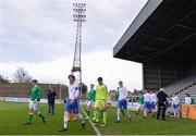 12 April 2019; Both sides walk-out prior to the SAFIB Centenary Shield Under 18 BoysÕ International match between Republic of Ireland and England at Dalymount Park in Dublin. Photo by Ben McShane/Sportsfile