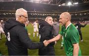 12 April 2019; Republic of Ireland manager Mick McCarthy and Kenny Cunningham of Republic of Ireland XI after the Sean Cox Fundraiser match between the Republic of Ireland XI and Liverpool FC Legends at the Aviva Stadium in Dublin. Photo by Stephen McCarthy/Sportsfile