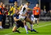 12 April 2019; Robert Baloucoune of Ulster is tackled by Duhan van der Merwe of Edinburgh during the Guinness PRO14 Round 20 match between Edinburgh and Ulster at BT Murrayfield in Edinburgh, Scotland. Photo by Ross Parker/Sportsfile