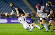 12 April 2019; Jordi Murphy of Ulster is tackles Viliame Mata of Edinburgh during the Guinness PRO14 Round 20 match between Edinburgh and Ulster at BT Murrayfield in Edinburgh, Scotland. Photo by Ross Parker/Sportsfile