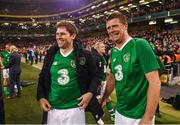 12 April 2019; Kevin Kilbane, left, and Niall Quinn of Republic of Ireland XI following the Sean Cox Fundraiser match between the Republic of Ireland XI and Liverpool FC Legends at the Aviva Stadium in Dublin. Photo by Stephen McCarthy/Sportsfile