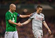 12 April 2019; Kenny Cunningham of Republic of Ireland XI and Robbie Keane of Liverpool FC Legends during the Sean Cox Fundraiser match between the Republic of Ireland XI and Liverpool FC Legends at the Aviva Stadium in Dublin. Photo by Stephen McCarthy/Sportsfile