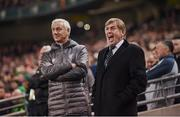 12 April 2019; Liverpool FC Legends manager Kenny Dalglish and Ian Rush, left, during the Sean Cox Fundraiser match between the Republic of Ireland XI and Liverpool FC Legends at the Aviva Stadium in Dublin. Photo by Stephen McCarthy/Sportsfile