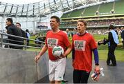 12 April 2019; Shane Supple, right, and Niall Quinn of Republic of Ireland XI prior to the Sean Cox Fundraiser match between the Republic of Ireland XI and Liverpool FC Legends at the Aviva Stadium in Dublin. Photo by Stephen McCarthy/Sportsfile