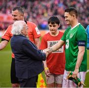 12 April 2019; Robbie Keane of Republic of Ireland XI meets President of Ireland Michael D Higgins prior to the Sean Cox Fundraiser match between the Republic of Ireland XI and Liverpool FC Legends at the Aviva Stadium in Dublin. Photo by Stephen McCarthy/Sportsfile