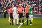 12 April 2019; Referee Tomás Connolly with Liverpool FC Legends captain Robbie Fowler and Republic of Ireland XI captain Robbie Keane prior to the Sean Cox Fundraiser match between the Republic of Ireland XI and Liverpool FC Legends at the Aviva Stadium in Dublin. Photo by Stephen McCarthy/Sportsfile