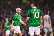 12 April 2019; Stephen Hunt and Robbie Keane, right, of Republic of Ireland XI during the Sean Cox Fundraiser match between the Republic of Ireland XI and Liverpool FC Legends at the Aviva Stadium in Dublin. Photo by Stephen McCarthy/Sportsfile