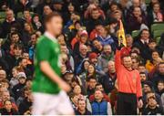 12 April 2019; Assistant referee Brian Fenlon flags Robbie Keane of Republic of Ireland XI for offside during the Sean Cox Fundraiser match between the Republic of Ireland XI and Liverpool FC Legends at the Aviva Stadium in Dublin. Photo by Stephen McCarthy/Sportsfile