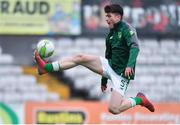 12 April 2019; Josh Honohan of Republic of Ireland warms-up prior to the SAFIB Centenary Shield Under 18 BoysÕ International match between Republic of Ireland and England at Dalymount Park in Dublin. Photo by Ben McShane/Sportsfile