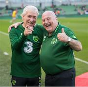 12 April 2019; Republic of Ireland XI kitmen Mick Lawlor, left, and Dick Redmond prior to the Sean Cox Fundraiser match between the Republic of Ireland XI and Liverpool FC Legends at the Aviva Stadium in Dublin. Photo by Stephen McCarthy/Sportsfile