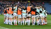 12 April 2019; The Ulster players huddle prior to the Guinness PRO14 Round 20 match between Edinburgh and Ulster at BT Murrayfield in Edinburgh, Scotland. Photo by Ross Parker/Sportsfile