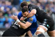13 April 2019; Robbie Henshaw of Leinster is tackled by Sam Johnson, left, and Fraser Brown of Glasgow Warriors during the Guinness PRO14 Round 20 match between Leinster and Glasgow Warriors at the RDS Arena in Dublin. Photo by Ramsey Cardy/Sportsfile