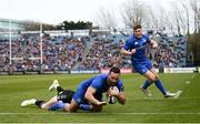 13 April 2019; Dave Kearney of Leinster on his way to score his side's first try despite the tackle of Stuart Hogg of Glasgow Warriors during the Guinness PRO14 Round 20 match between Leinster and Glasgow Warriors at the RDS Arena in Dublin. Photo by Stephen McCarthy/Sportsfile